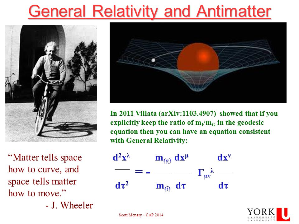 Scott Menary – CAP 2014 Scott Menary – CAP 201423 General Relativity and Antimatter Matter tells space how to curve, and space tells matter how to move. - J.