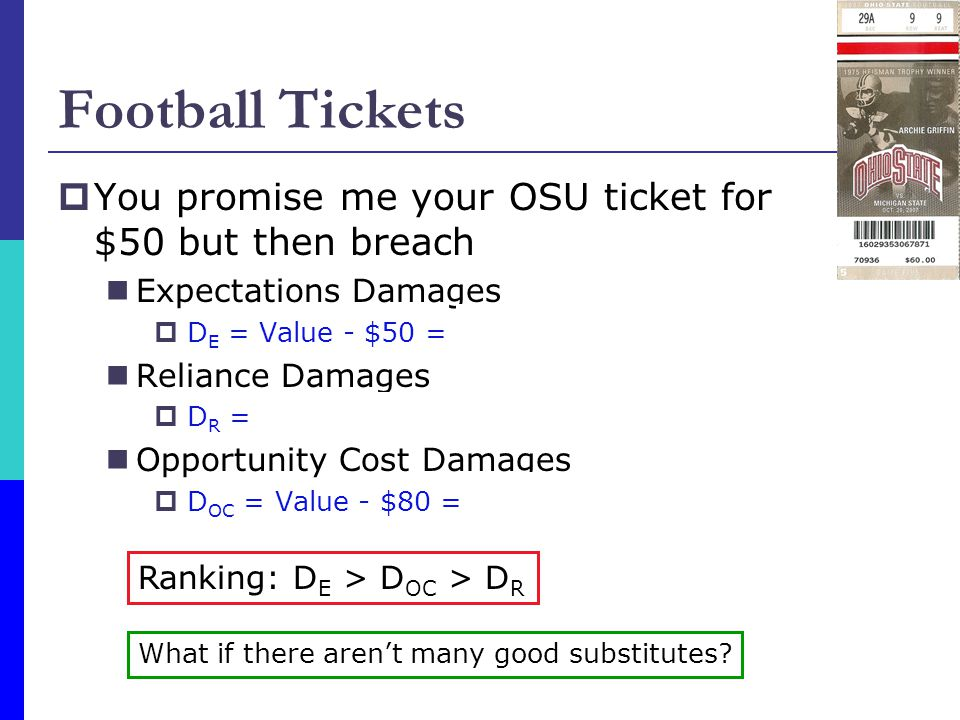 Football Tickets  You promise me your OSU ticket for $50 but then breach Expectations Damages  D E = Value - $50 = $150 - $50 = $100 Reliance Damage