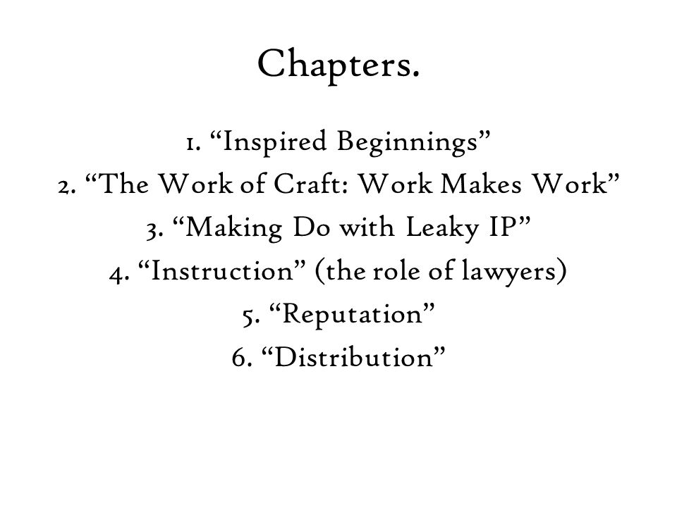 Chapters.1. Inspired Beginnings 2. The Work of Craft: Work Makes Work 3.