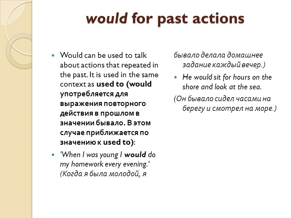 would for past actions Would can be used to talk about actions that repeated in the past.