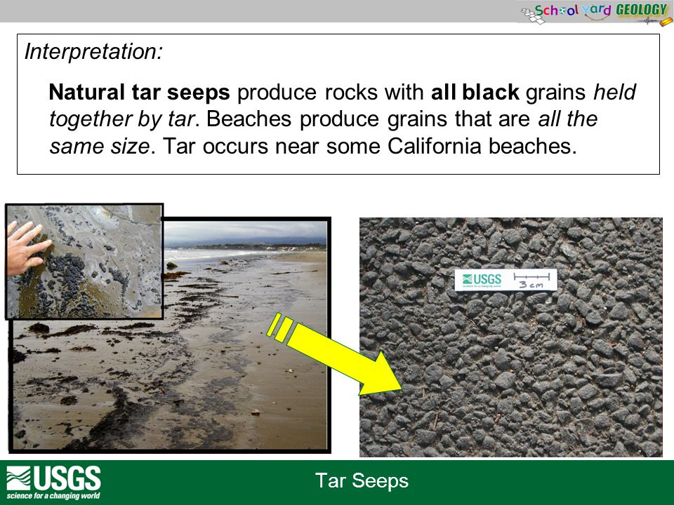 Tar Seeps Interpretation: Natural tar seeps produce rocks with all black grains held together by tar. Beaches produce grains that are all the same siz