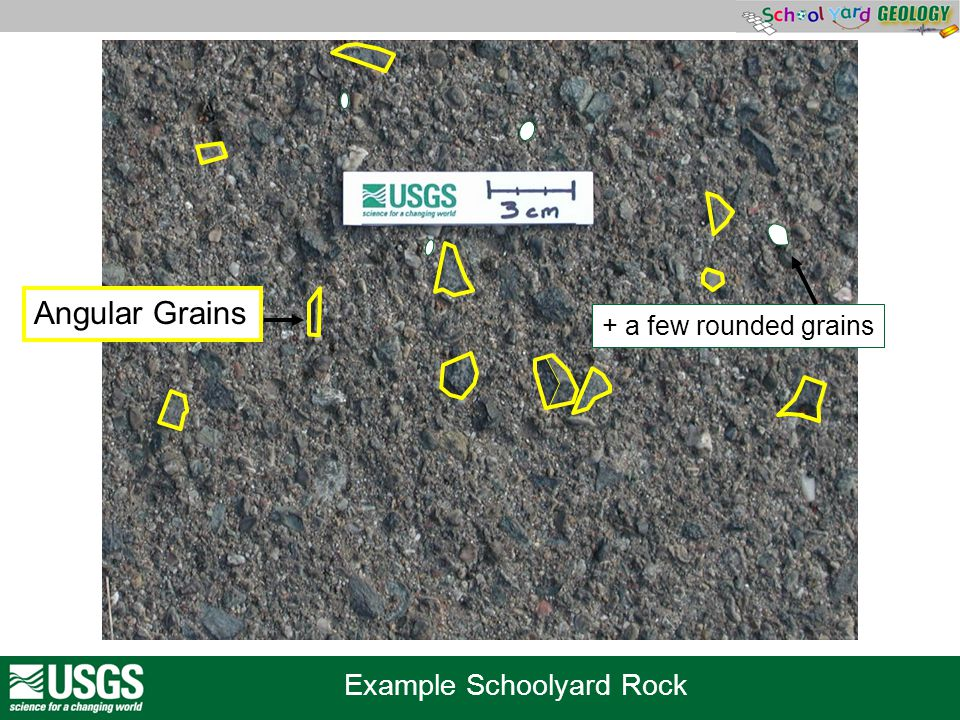 Example Schoolyard Rock + a few rounded grains Angular Grains