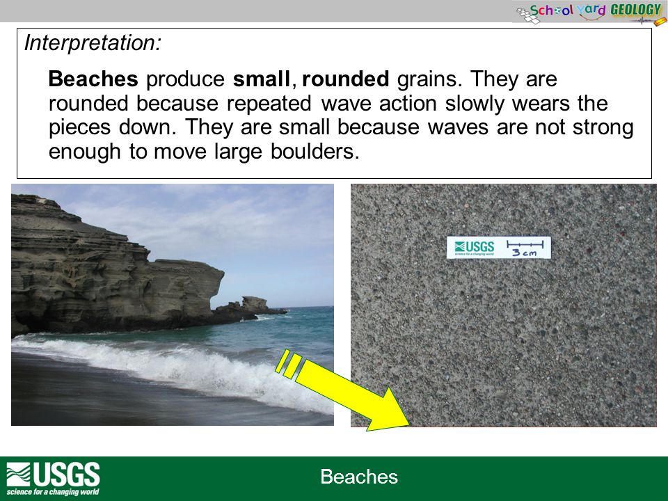 Beaches Interpretation: Beaches produce small, rounded grains. They are rounded because repeated wave action slowly wears the pieces down. They are sm