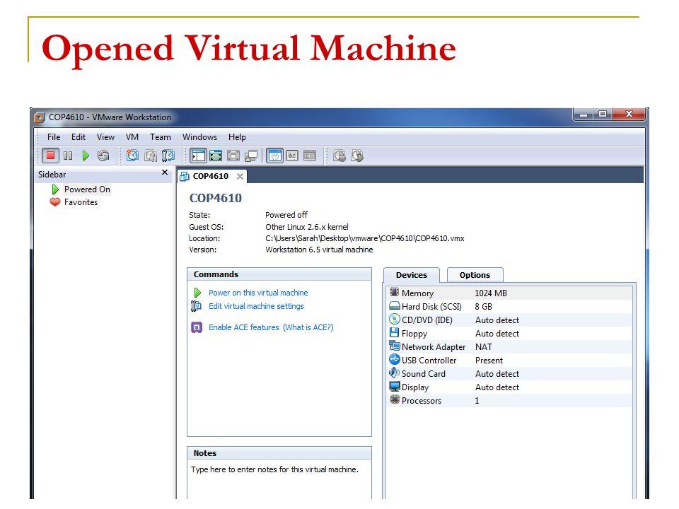 Opened Virtual Machine 14