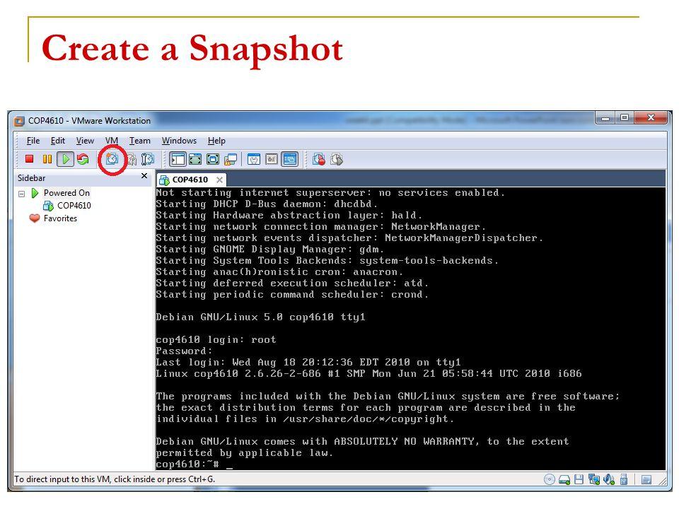 Create a Snapshot 21