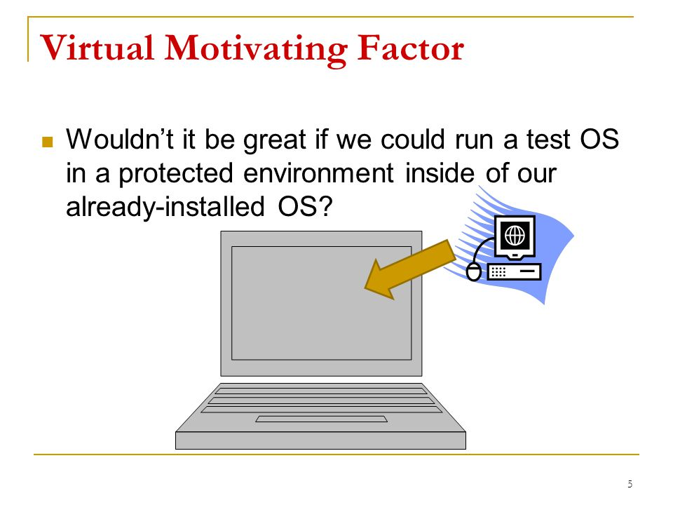 Virtual Motivating Factor Wouldn't it be great if we could run a test OS in a protected environment inside of our already-installed OS.