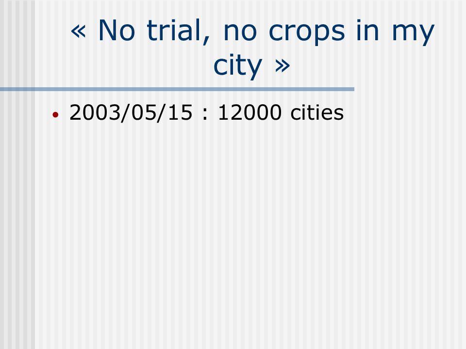« No trial, no crops in my city » 2003/05/15 : 12000 cities