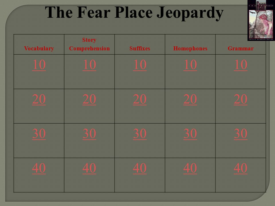 The Fear Place Jeopardy Vocabulary Story ComprehensionSuffixesHomophonesGrammar 10 20 30 40