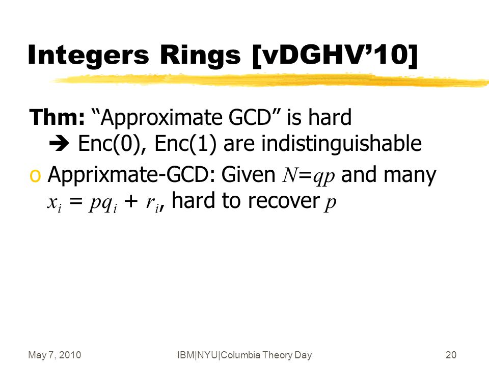 May 7, 2010IBM|NYU|Columbia Theory Day21 Polynomial Rings [G'09] oR = polynomial ring modulo some f(x)  E.g., f(x) = x n +1 o C is an ideal in R  E.g., random g(x), C g = { g x h mod f : h  R }  C is also a lattice  Good representation: g itself  Bad representation: Hermite-Normal-Form oIf g has t -bit coefficients, can evaluate polynomials of degree O( t/log n )