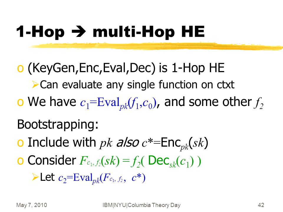 May 7, 2010IBM|NYU|Columbia Theory Day43 F c i-1, f i 1-Hop  multi-Hop HE oDrawback: | c i | grows exponentially with i :  | F c i  1, f i |  | c i  1 |+| f i |  | c i |= |Eval pk ( F c i  1, f i, c* )|  poly(n)(| c i  1 |+| f i |) oDoes not happen if underlying scheme is compact Or even |Eval pk ( F c i  1, f i, c* )| = | c i  1 |+poly(n)| f i | x i-1 sk ci1ci1 fifi F c i-1, f i (sk) c i+1 = f i ( Dec sk (c i  1 ) ) = f i (x i  1 ) c*c*