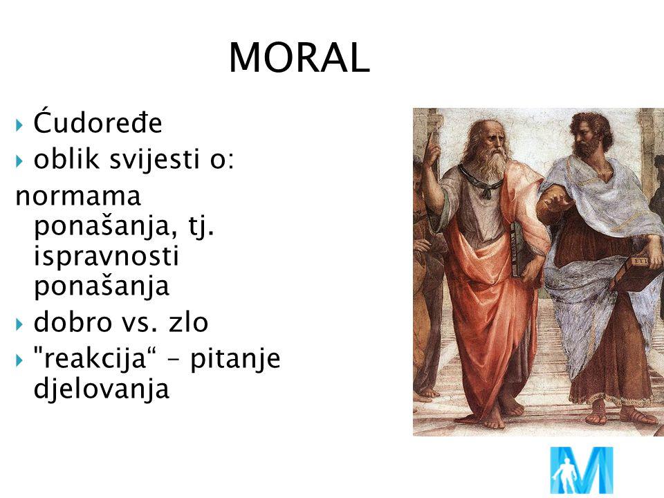 MORAL  Ćudoređe  oblik svijesti o: normama ponašanja, tj. ispravnosti ponašanja  dobro vs. zlo 
