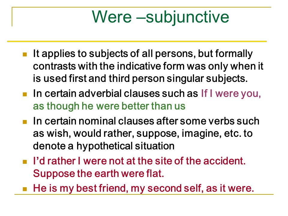 Be-Subjunctive The be-subjunctive is commonly used in that-clause to express a command, decision, suggestions. After such verbs as decide, decree, dem