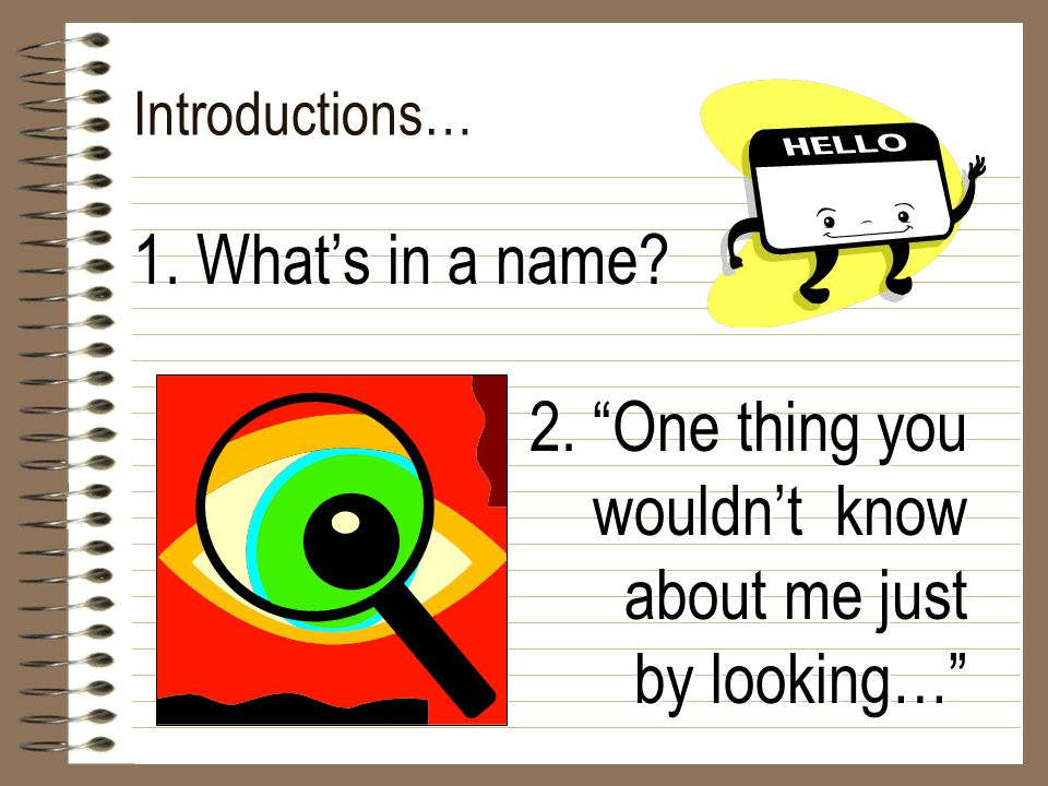 "Introductions… 1. What's in a name? 2. ""One thing you wouldn't know about me just by looking…"""