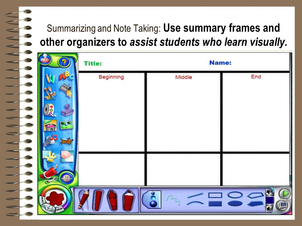 Summarizing and Note Taking: Use summary frames and other organizers to assist students who learn visually.