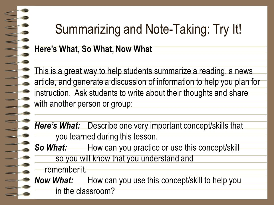 Summarizing and Note-Taking: Try It.