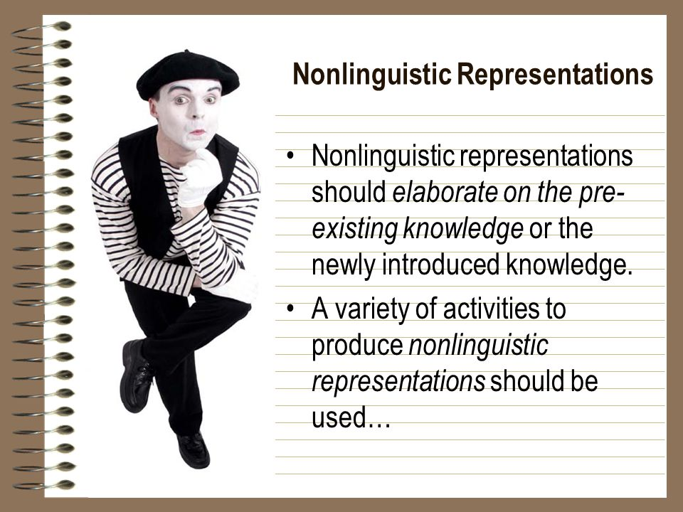 Nonlinguistic Representations Nonlinguistic representations should elaborate on the pre- existing knowledge or the newly introduced knowledge.