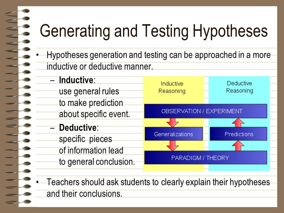 Generating and Testing Hypotheses Hypotheses generation and testing can be approached in a more inductive or deductive manner. – Inductive : use gener