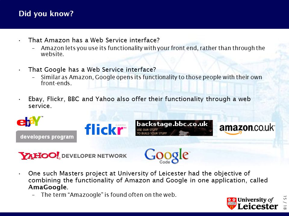 15 / 18 Did you know. That Amazon has a Web Service interface.