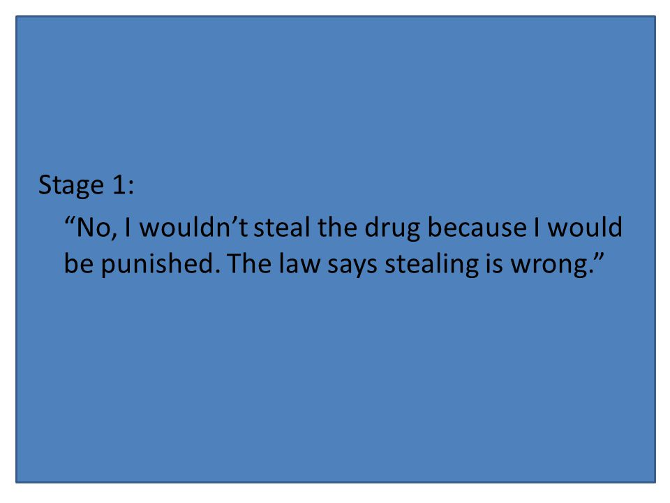 Stage 1: No, I wouldn't steal the drug because I would be punished.