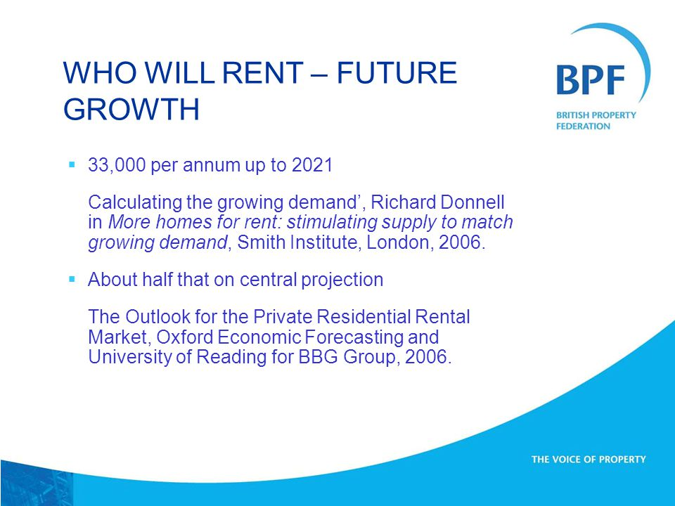  33,000 per annum up to 2021 Calculating the growing demand', Richard Donnell in More homes for rent: stimulating supply to match growing demand, Smith Institute, London, 2006.