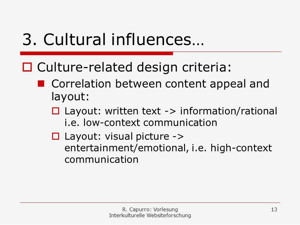 R. Capurro: Vorlesung Interkulturelle Websiteforschung 13 3.