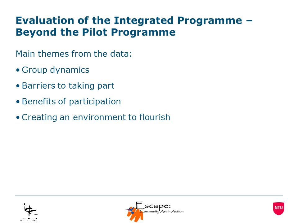 Evaluation of the Integrated Programme – Beyond the Pilot Programme Main themes from the data: Group dynamics Barriers to taking part Benefits of participation Creating an environment to flourish