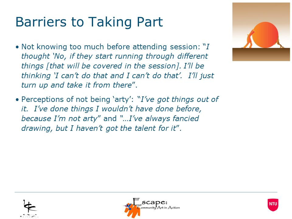 Barriers to Taking Part Not knowing too much before attending session: I thought 'No, if they start running through different things [that will be covered in the session].