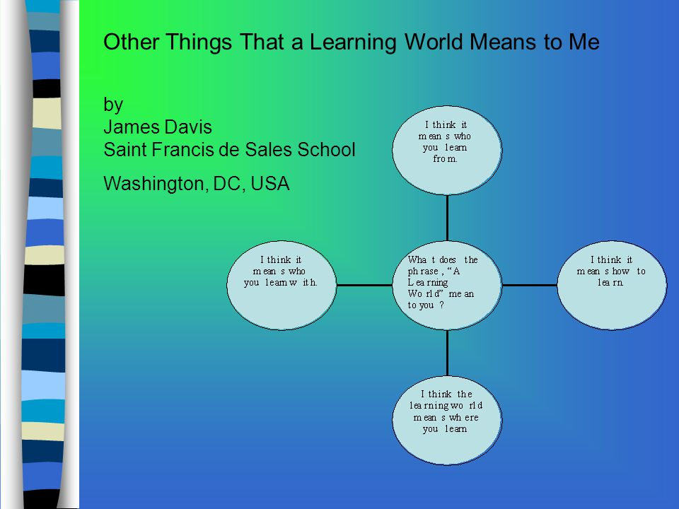 Other Things That a Learning World Means to Me by James Davis Saint Francis de Sales School Washington, DC, USA