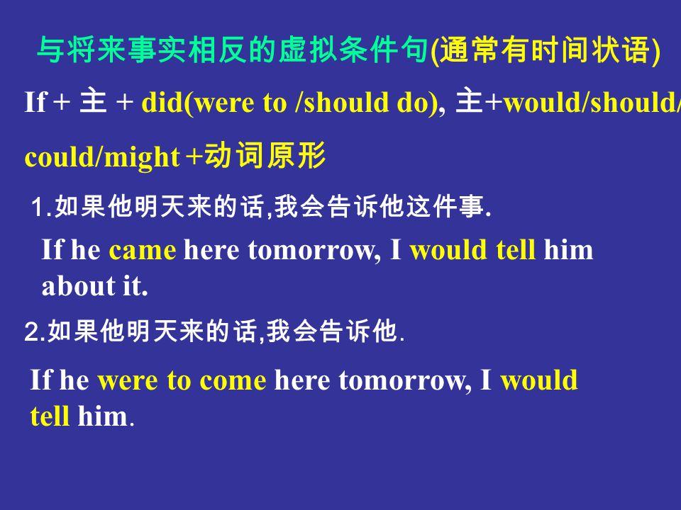If + 主 +had done sth, 主 +would/should/could/might + 动词完成式( have done ) If he had worked hard, he would have passed the examination. 1. 如果他努力学的话,他就通过这次