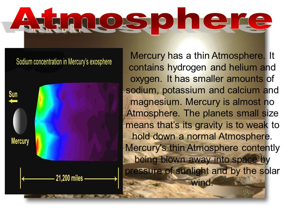 Mercury has a thin Atmosphere. It contains hydrogen and helium and oxygen.