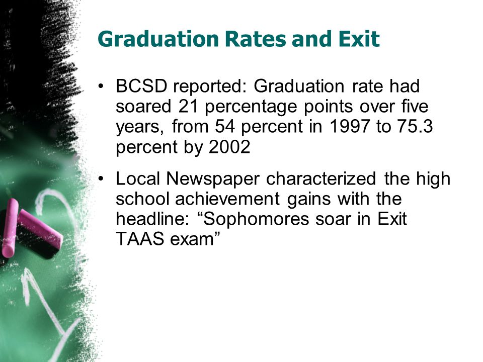 Graduation Rates and Exit BCSD reported: Graduation rate had soared 21 percentage points over five years, from 54 percent in 1997 to 75.3 percent by 2