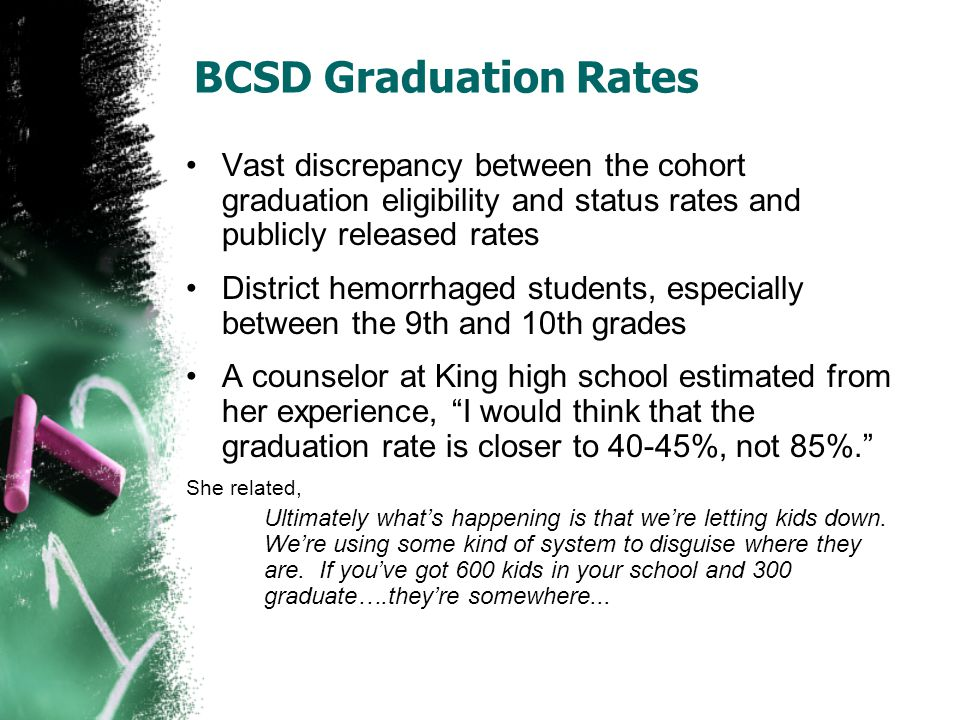 BCSD Graduation Rates Vast discrepancy between the cohort graduation eligibility and status rates and publicly released rates District hemorrhaged stu