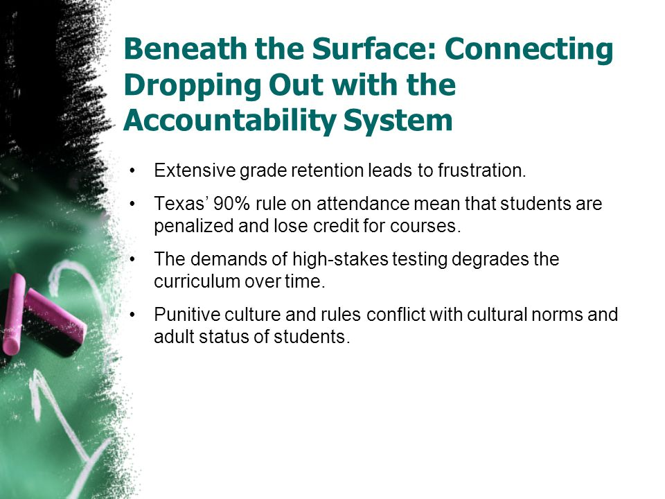 Beneath the Surface: Connecting Dropping Out with the Accountability System Extensive grade retention leads to frustration. Texas' 90% rule on attenda