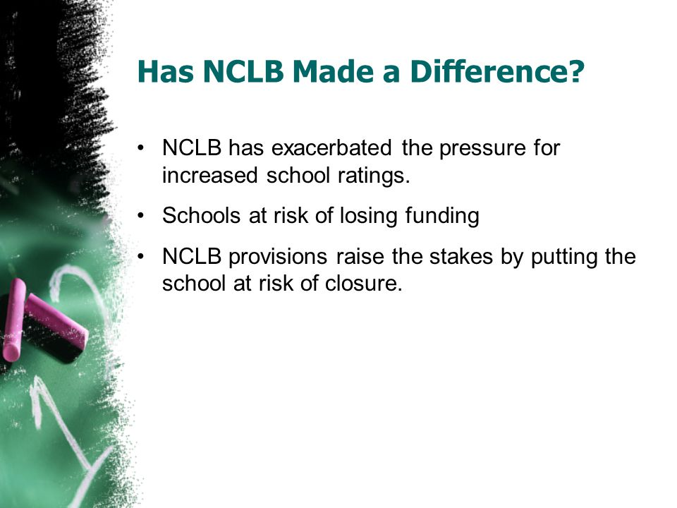 Has NCLB Made a Difference? NCLB has exacerbated the pressure for increased school ratings. Schools at risk of losing funding NCLB provisions raise th
