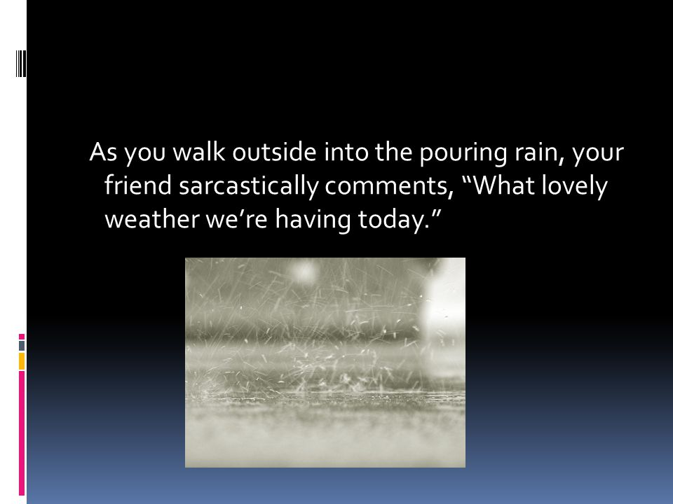 """As you walk outside into the pouring rain, your friend sarcastically comments, """"What lovely weather we're having today."""""""