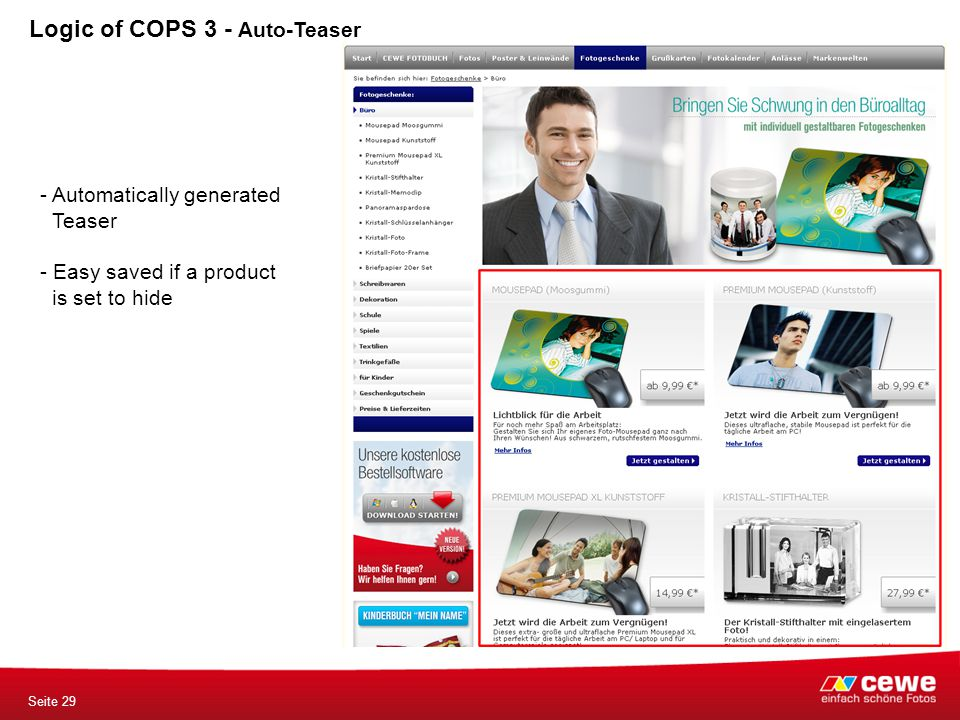 Seite 29 Logic of COPS 3 - Auto-Teaser - Automatically generated Teaser - Easy saved if a product is set to hide