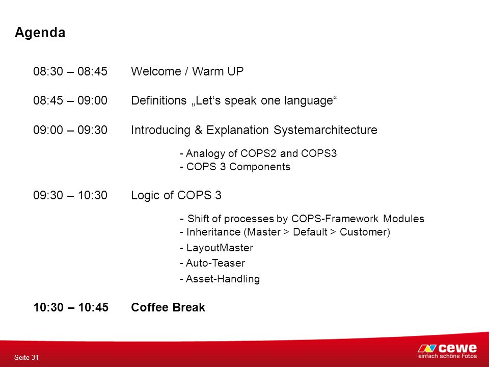 "Agenda Seite 31 08:30 – 08:45 Welcome / Warm UP 08:45 – 09:00Definitions ""Let's speak one language"" 09:00 – 09:30 Introducing & Explanation Systemarch"
