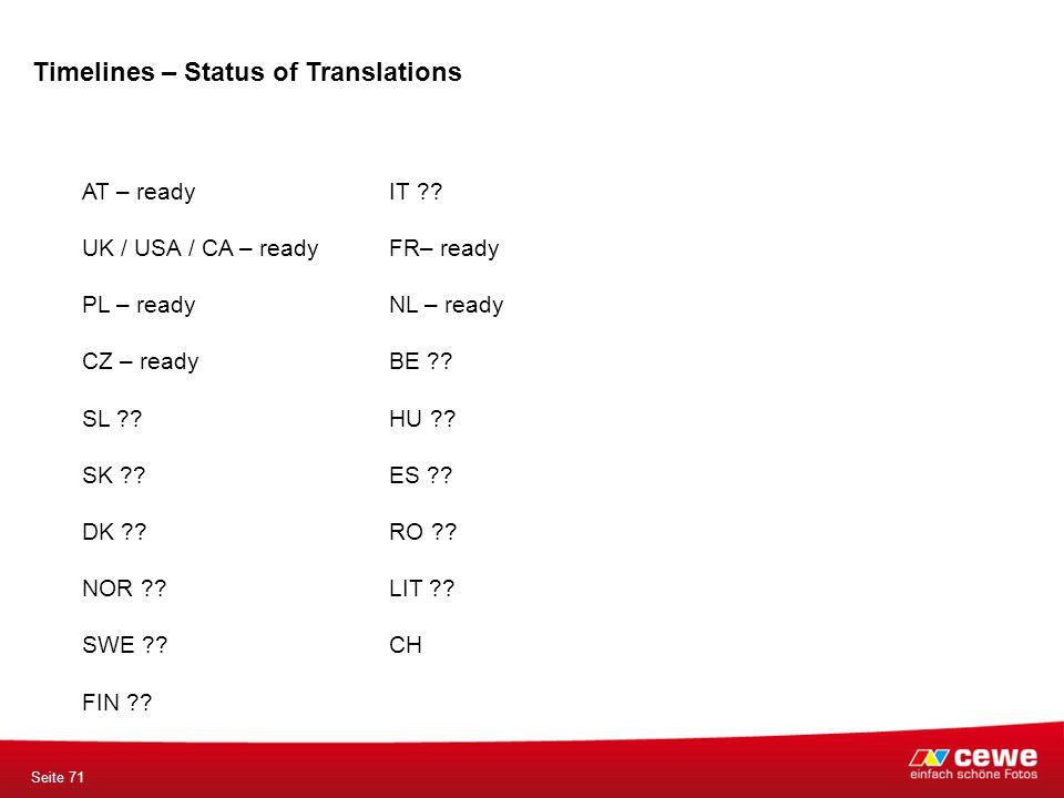 Timelines – Status of Translations Seite 71 AT – ready UK / USA / CA – ready PL – ready CZ – ready SL ?.
