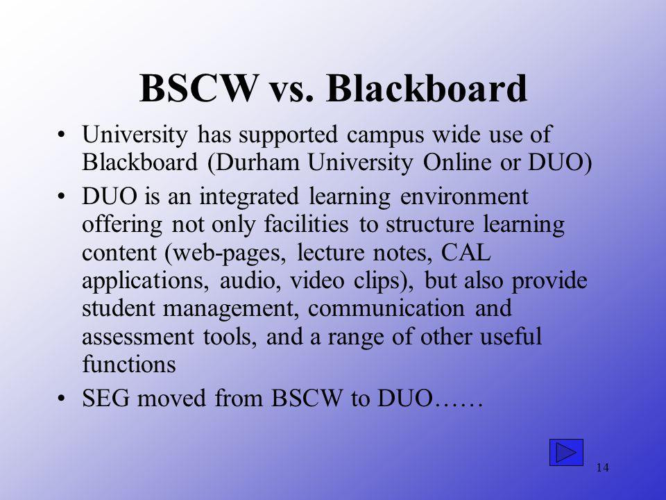 14 BSCW vs.