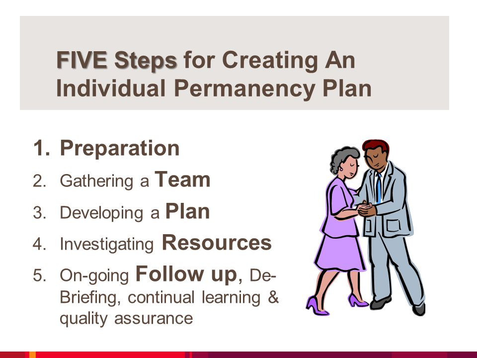 FIVE Steps FIVE Steps for Creating An Individual Permanency Plan 1.Preparation 2.Gathering a Team 3.Developing a Plan 4.Investigating Resources 5.On-going Follow up, De- Briefing, continual learning & quality assurance