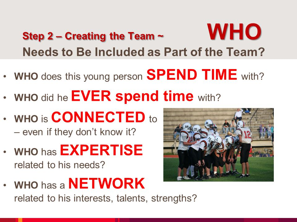 Step 2 – Creating the Team ~ WHO Step 2 – Creating the Team ~ WHO Needs to Be Included as Part of the Team? WHO does this young person SPEND TIME with