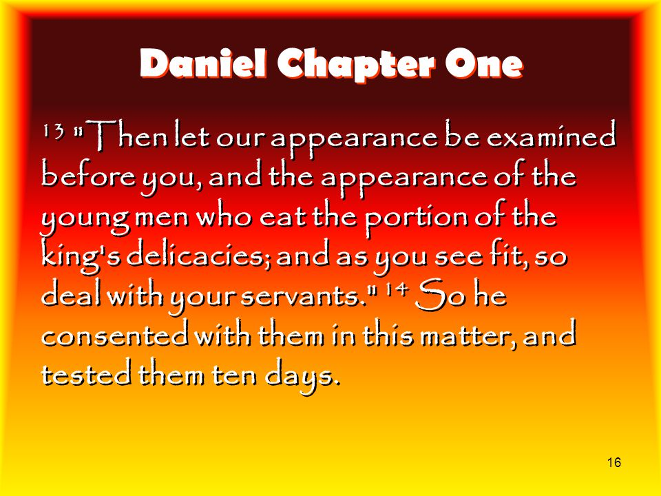 16 Daniel Chapter One 13