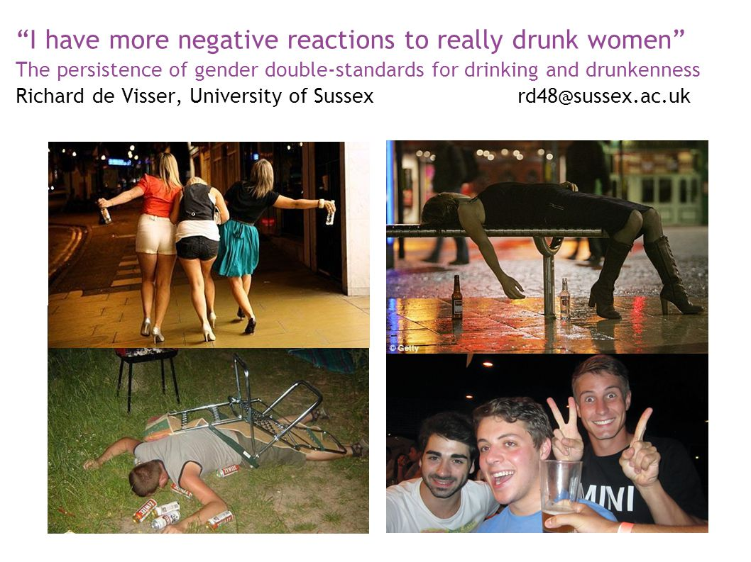 """I have more negative reactions to really drunk women"" The persistence of gender double-standards for drinking and drunkenness Richard de Visser, Univ"