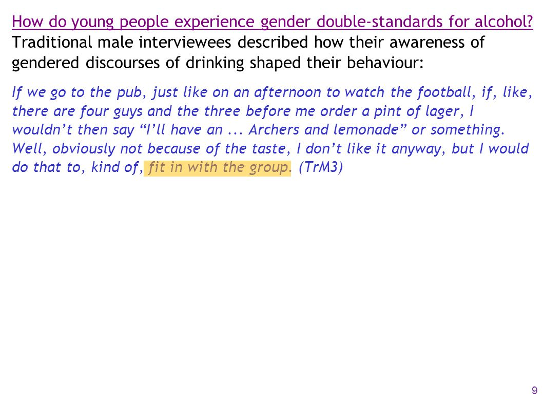 How do young people experience gender double-standards for alcohol.