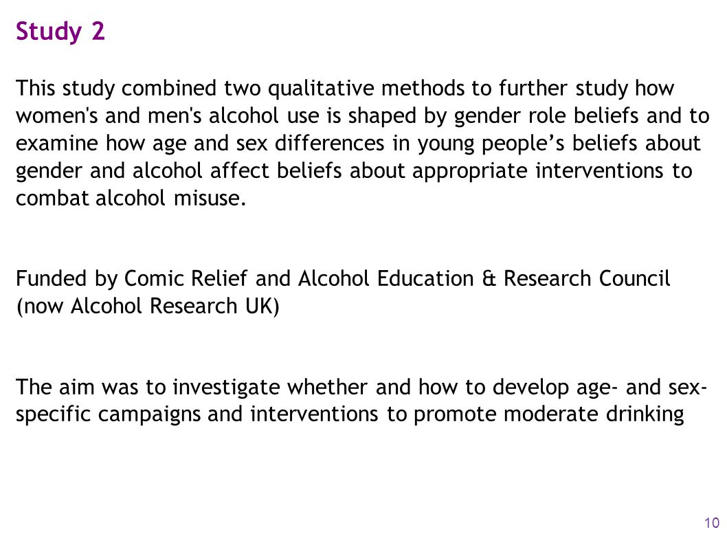Study 2 This study combined two qualitative methods to further study how women's and men's alcohol use is shaped by gender role beliefs and to examine