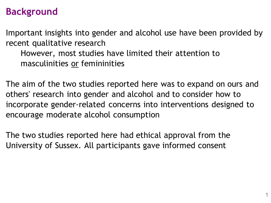Background Important insights into gender and alcohol use have been provided by recent qualitative research However, most studies have limited their a