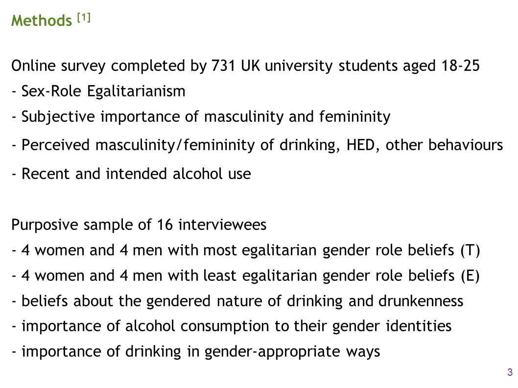 Methods [1] Online survey completed by 731 UK university students aged 18-25 - Sex-Role Egalitarianism - Subjective importance of masculinity and femi