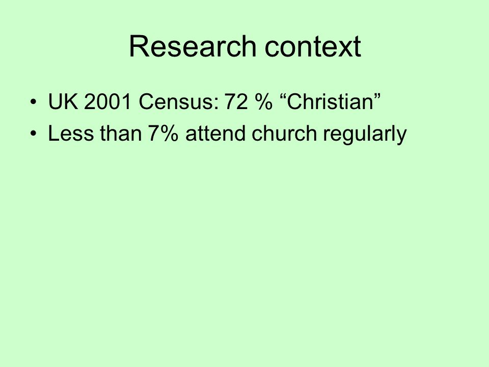 Research problem What do people believe in nowadays and how do we find out.