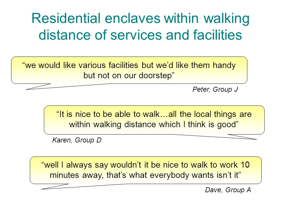 Residential enclaves within walking distance of services and facilities we would like various facilities but we'd like them handy but not on our doorstep Peter, Group J well I always say wouldn't it be nice to walk to work 10 minutes away, that's what everybody wants isn't it Dave, Group A It is nice to be able to walk…all the local things are within walking distance which I think is good Karen, Group D