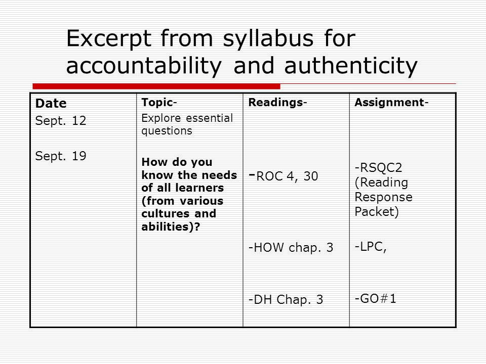 Excerpt from syllabus for accountability and authenticity Date Sept.